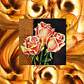 Cappuccino Abstract Collage French Roses by Irina Sztukowski