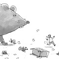 Captionless. Cctk. A Giant Rat Chases Scientists by Jason Patterson