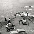 Car Over Edge On Highway One  Big Sur  California    March 27 1947 by California Views Archives Mr Pat Hathaway Archives