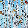 Cardinals Among The Birch-jp2061 by Jean Plout