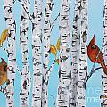 Cardinals Among The Birch-e by Jean Plout