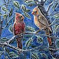 Cardinals And Holly by Gail Butler