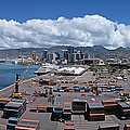 Cargo Containers At A Harbor, Honolulu by Panoramic Images
