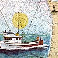 Carina Trawl Fishing Boat Nautical Chart Map Art by Cathy Peek