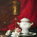 Carnations And Sugar Bowl by David Lloyd Glover