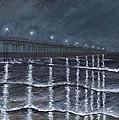 Carolina Beach Pier By Night by Bev Veals