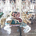 Carousel Merry Go Round Horses - Dreamy Baby Blue Carousel Horses Carnival Ride And American Flag by Kathy Fornal