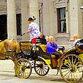 Carriage Ride On Cobblestones Rue Notre Dame Tan Horse Golden Caleche Old Port Quebec Scene Cspandau by Carole Spandau