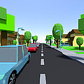 Cars Driving Suburban Streets   by Jan Brons