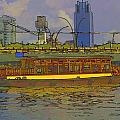 Cartoon - Colorful River Cruise Boat In Singapore Next To A Bridge by Ashish Agarwal