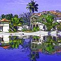 Cartoon - Cottages And Lagoon Water by Ashish Agarwal