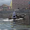 Cartoon - Light Following This Lady On A Wooden Boat On The Dal Lake In Srinagar by Ashish Agarwal