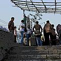 Cartoon - Locals And Tourists Standing At The Top Of The Steps Near The Dal Lake by Ashish Agarwal