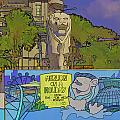 Cartoon - Statue Of The Merlion With A Banner Below The Statue by Ashish Agarwal
