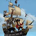 Cartoon Animal Pirate Ship by Martin Davey