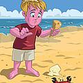 Cartoon Boy With Crab On Beach by Martin Davey