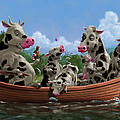 Cartoon Cow Family On Boating Holiday by Martin Davey