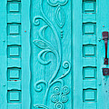 Carved Turquoise Door by Art Block Collections