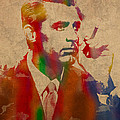 Cary Grant Watercolor Portrait On Worn Parchment by Design Turnpike