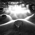Cascading Waterfall Black And White by John Stephens