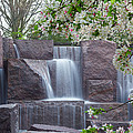 Cascading Waters At The Roosevelt Memorial by Leah Palmer