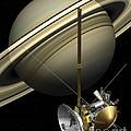Cassini-huygens Probe And Saturn, Artwork by Carlos Clarivan