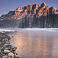 Castle Mountain And The Bow River by Richard Berry