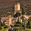 Sunset On The Castle On Lake Garda Italy by Brenda Kean