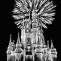 Castle With Fireworks In Black And White Walt Disney World by Thomas Woolworth