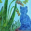 Cat And Butterflies by Geri Hansen