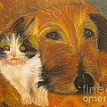 Cat And Dog Original Oil Painting  by Anthony Morretta