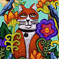 Cat And Four Birds by Genevieve Esson