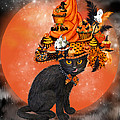 Cat In Halloween Cupcake Hat by Carol Cavalaris