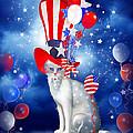 Cat In Patriotic Hat by Carol Cavalaris
