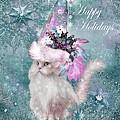 Cat In The Snowflake Santa Hat by Carol Cavalaris
