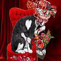 Cat In The Valentine Steam Punk Hat by Carol Cavalaris