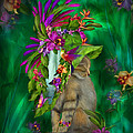 Cat In Tropical Dreams Hat by Carol Cavalaris