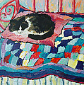 Cat On Pink  by Peggy Johnson