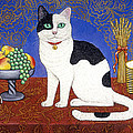 Cat On Thanksgiving Table by Linda Mears
