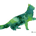 Cat Silhouette Print Watercolor Poster by Joanna Szmerdt