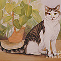 Cat With Plant by Gail Dolphin