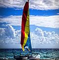 Catamaran At The Beach by Debra and Dave Vanderlaan