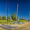 Catamaran Sailboats On The Beach At Muskegon No. 601 by Randall Nyhof