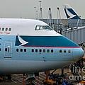 Cathay Pacific 747 Jumbo Jet Parked At Hong Kong Airport by Imran Ahmed