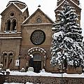 Cathedral Basilica Of St Francis In Snow by Jason O Watson