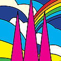 Cathedral Spires Stained Glass Lichfield by Neil Finnemore
