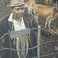 Cattle And African Rancher by Michael Briere