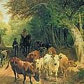 Cattle Watering In A Wooded Landscape by Friedrich Johann Voltz