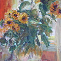 Sale - Sunflowers In Window Light - Original Impressionist - Large Oil Painting by Quin Sweetman