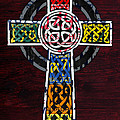 Celtic Cross License Plate Art Recycled Mosaic On Wood Board by Design Turnpike